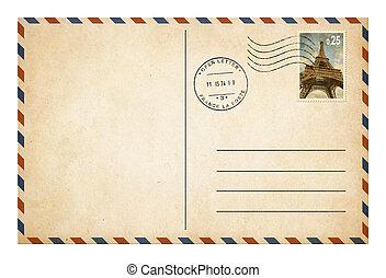 porto, stijl, oud, postkaart, enveloppe, vrijstaand, postzegel, of