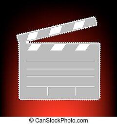 porto, stil, altes , kino, briefmarke, foto, zeichen., steigung, klatschen, hintergrund., red-black, oder, film, brett