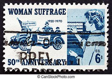 porto, suffragettes, usa, briefmarke, 1970, 1920, wähler