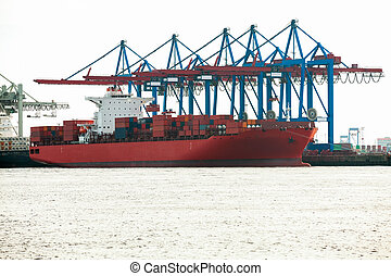 porto, terminal, para, carregando, e, offloading, navios