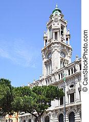 porto, torre, vestíbulo, ciudad