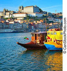 Porto tourist boats river. Portugal