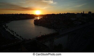 Porto train at sunset - Aerial panoramic view of Oporto...