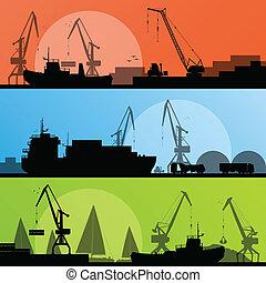 porto, trasporto industriale, illustrazione, navi, vettore, spiaggia, collezione, fondo, silhouette, gru, paesaggio