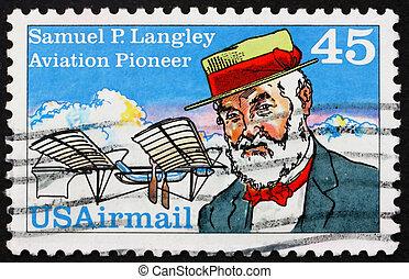 porto, usa, briefmarke, samuel, 1988, langley, pierpoint