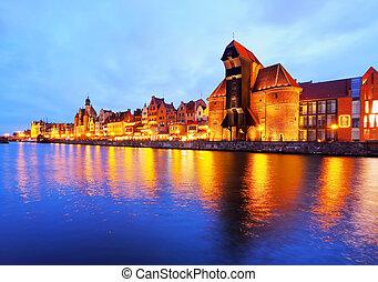 porto velho, guindaste, em, gdansk, polônia