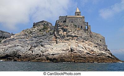 Porto Venere village on Italian Riviera, Liguria, Italy, ...