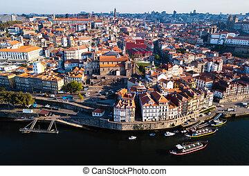 porto, vieille ville, centre, sommet, portugal., rivière, ribeira, douro, vue
