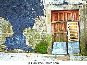 porto., vieux, porte bois, portugal.