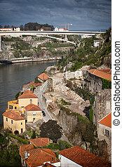 porto, vila, portugal, de, nova, gaia