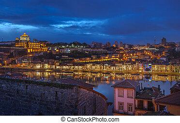 porto, vila, portugal, panorama, de, nova, gaia, nuit