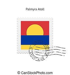 porto, vlag, atol, palmyra, stamp.