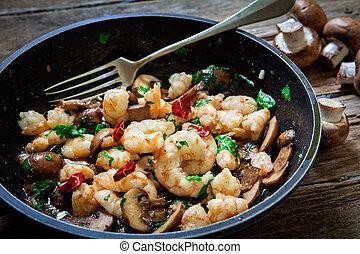 portobello, frit, champignon