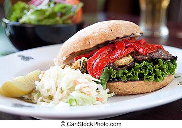 Portobello Mushroom Burger - Portobello mushrooms, zucchini,...
