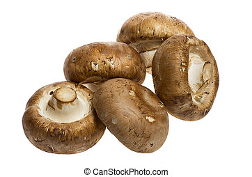Portobello mushrooms isolated on white - Five portobello...