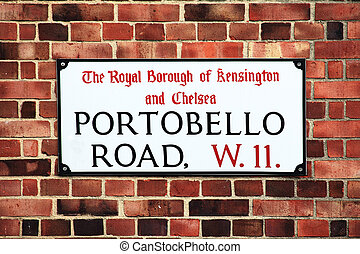 Portobello Road Sign - Portobello Road sign in the street...