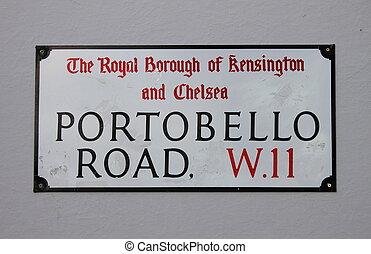 Portobello Road Street Sign in London, UK