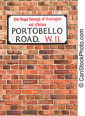 Portobello Road street sign - Portobello Road in London is...