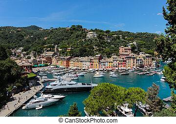 portofino, aldea, ligurian, costa, italia