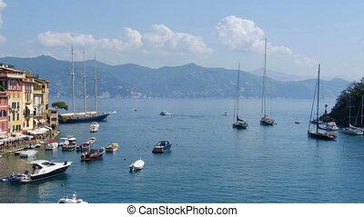 portofino lagoon on Tigullio gulf - Italian riviera panning...