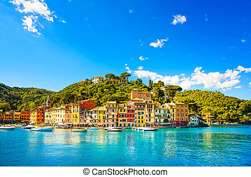 Portofino luxury landmark panorama. Village and yacht in...