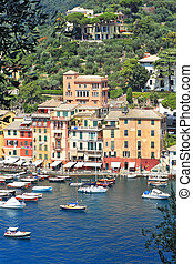 Portofino view. Liguria, Italy. - Vertical oriented image of...