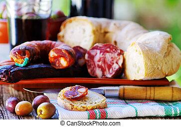 portoghese, bread, carne, vino