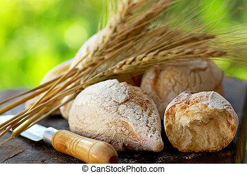 portoghese, bread, e, raccoglitori, di, wheat.