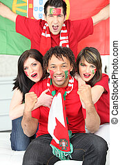 portoghese, ventilatori, football, festeggiare