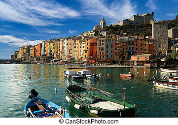 Portovenere Liguria Italy - The harbor with small boats and...