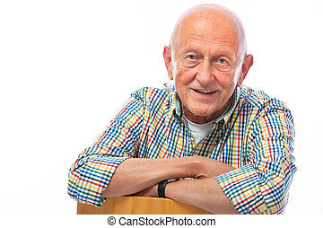 porträt, älter, glückliches lächeln, mann