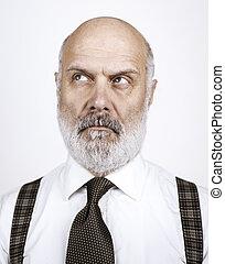 porträt, älter, nachdenklich, mann