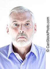 porträt, älter, stummer mann