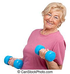 porträt, ältere frau, weights.