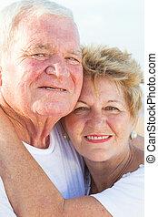 porträt, ältere paare, glücklich