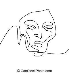 porträt, abstrakt, frau