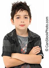 porträt, acht, jährige, junge, verschränkte arme