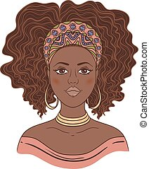 porträt, afrikanisch, woman.