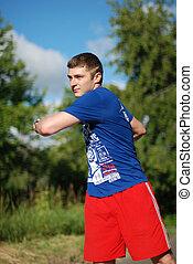 porträt, athlet, trainieren, junger