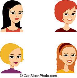 porträt, avatar, frau, reihe