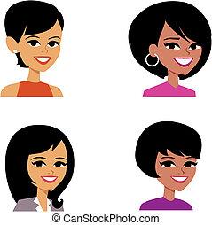 porträt, avatar, karikatur, abbildung, frauen