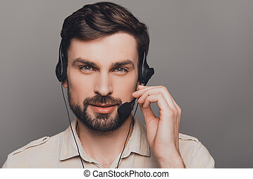 porträt, berühren, mann, glücklich, mikrophon, head-phones,...