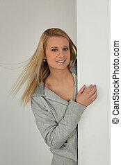 Porträt, blond, frau