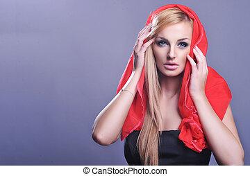 porträt, blond, reizend