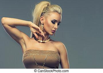 porträt, blond, sinnlich, frau, schöne