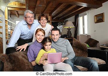 porträt, cozy, familie