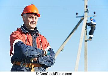 porträt, elektriker, streckenarbeiter, macht