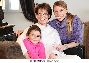 porträt, familie, drei generationen