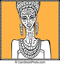porträt, frau, afrikanisch