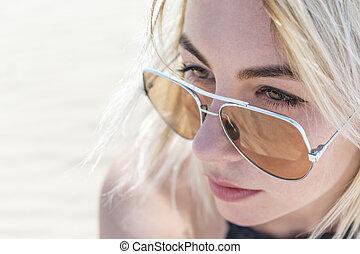 porträt, frau, brille
